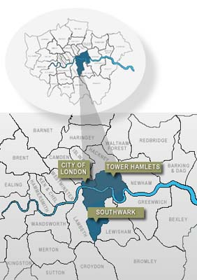Map of London CIty, Tower Hamlets and Southwark